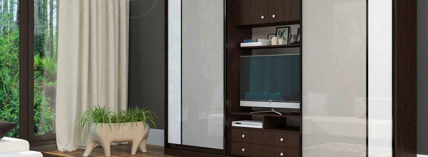 Какие бывают шкафы купе с нишей для телевизора, обзор моделей