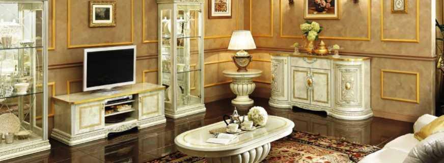 Особенности выбора мебели в гостиную реализованную в классическом стиле
