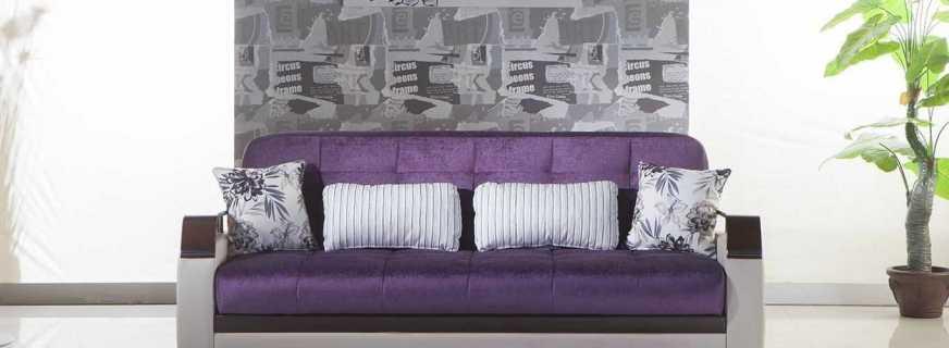 Особенности применения фиолетового дивана, материалы изготовления
