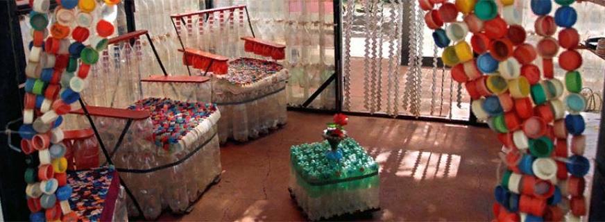 Сборка своими руками кресла из пластиковых бутылок, этапы работы