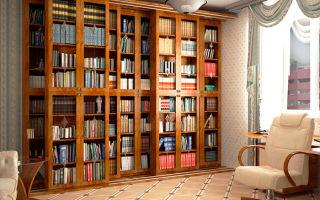 Варианты книжных шкафов со стеклянными дверями, и их особенности