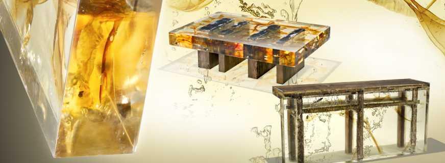 Особенности мебели выполненной из эпоксидной смолы, обзор моделей