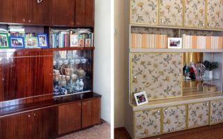 Способы обновления старой мебельной стенки своими руками, примеры в фото до и после