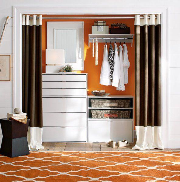 Дизайн гардеробной со шторами