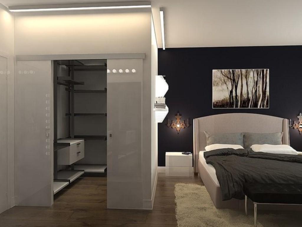 Дизайн спальни с гардеробной 17 кв м