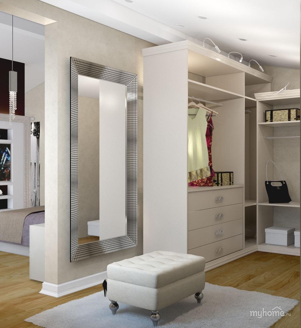 Гардеробная при спальне в стиле модерн