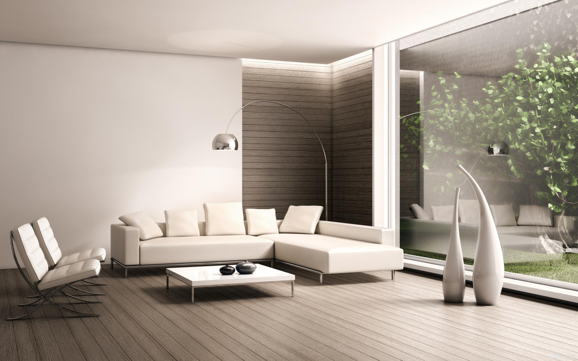 Аккуратная белая мебель в гостиной комнате