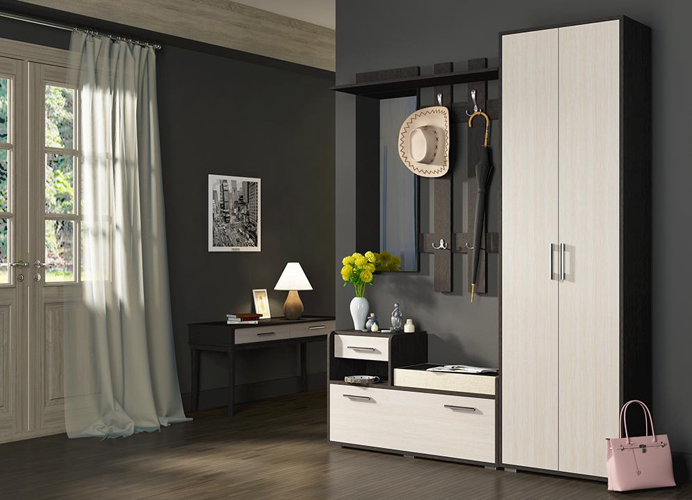 Белая компактная мебель для небольшого коридора