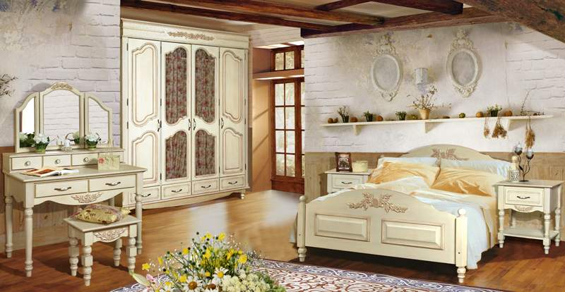 Белая красивая мебель для спальни в стиле прованс
