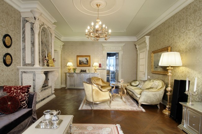 Белая мебель в гостиную классического стиля