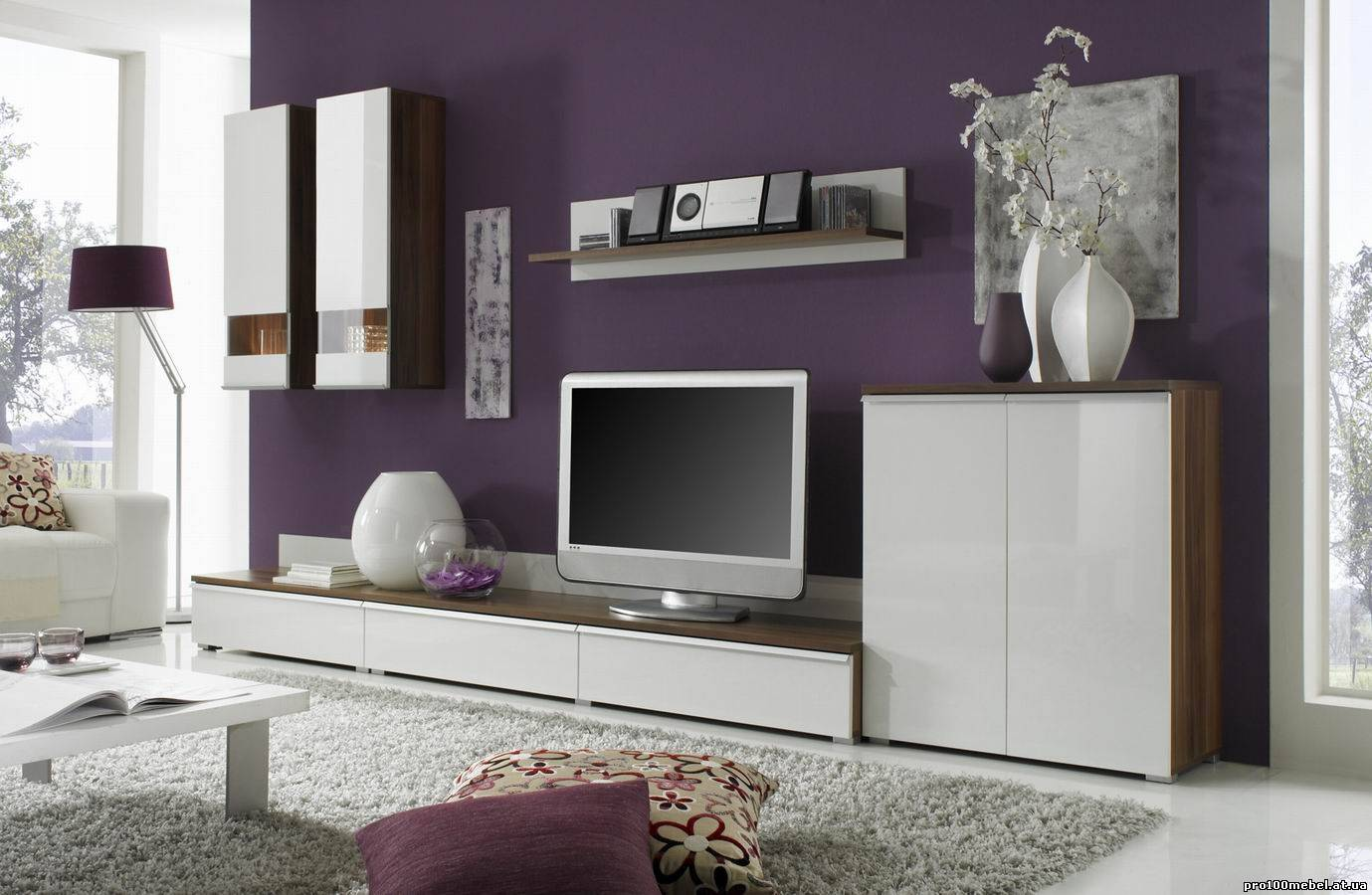 Белая современная мебель для гостиной с глянцевой поверхностью