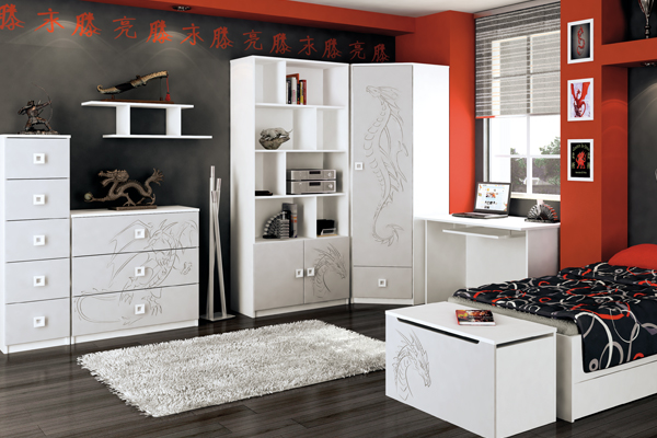 Белая современная подростковая мебель