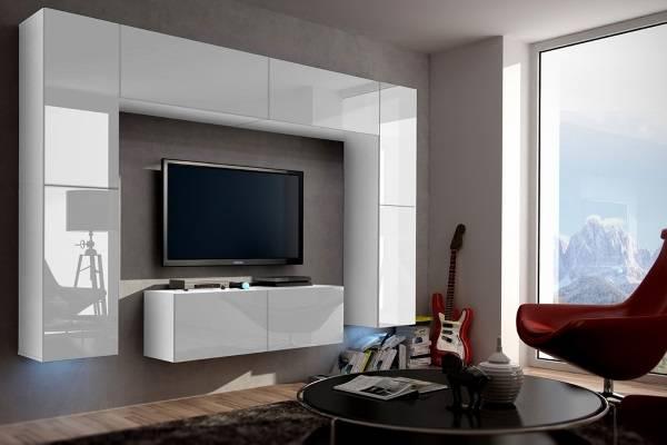 Белоснежная глянцевая мебель для гостиной