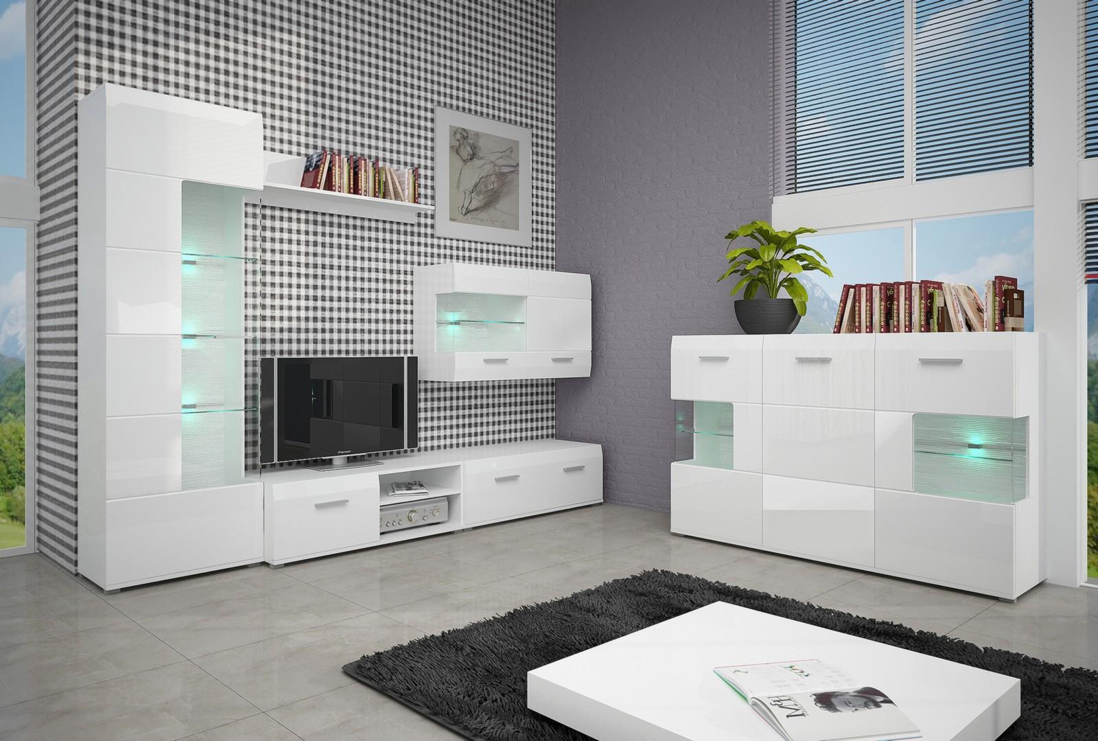 Белоснежная мебель для гостиной с глянцевой поверхностью