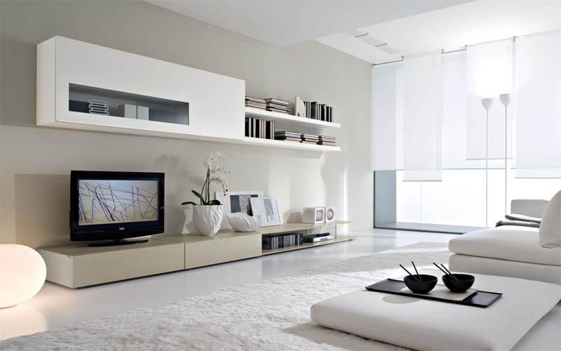 Белоснежная модульная мебель для гостиной