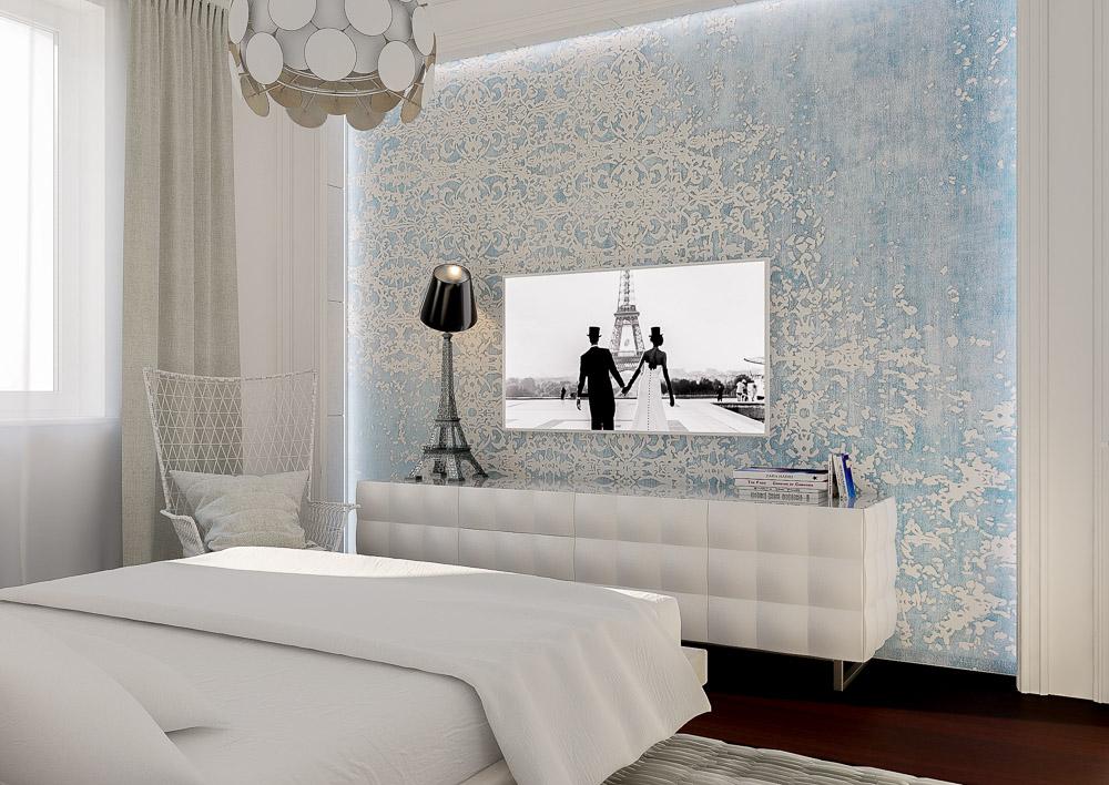 Белый стильный комод в спальне