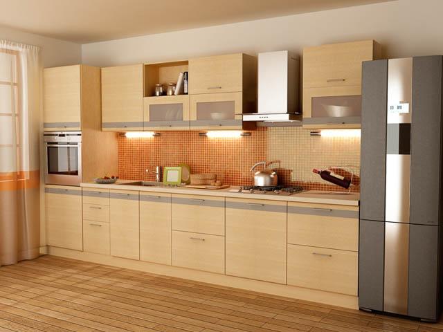Бежевая линейная модульная мебель для кухни