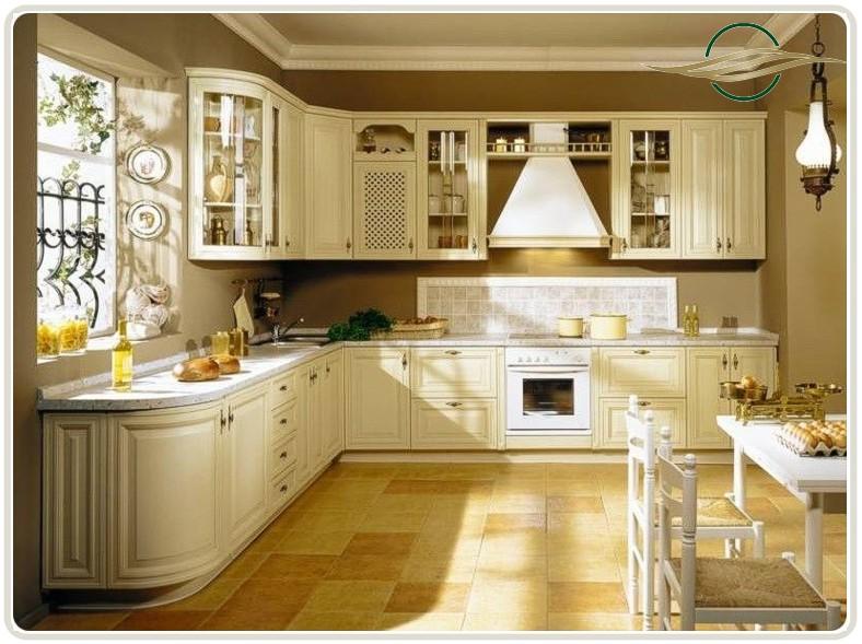 Бежевая мебель для оформления кухни
