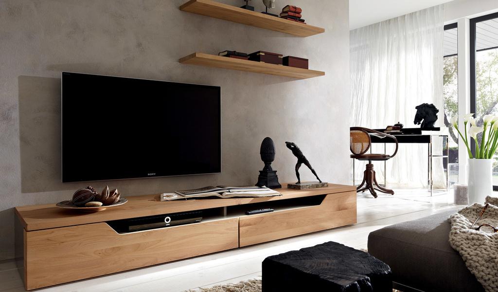 Бежевая мебель под телевизор для дома