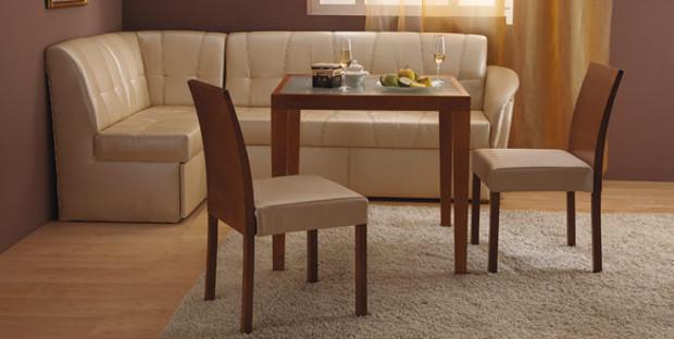Бежевая мягкая мебель в кухню