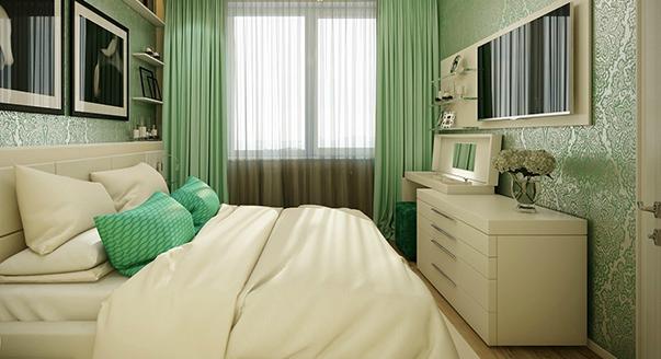 Бежевый комод в спальне