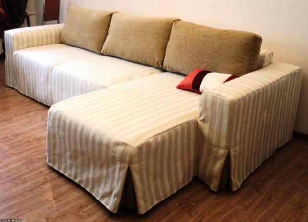 Безразмерные чехлы на мебель в полоску