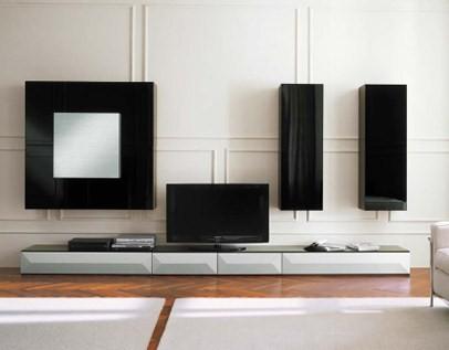 Черная глянцевая мебель для гостиной