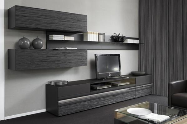 Черная корпусная мебель для гостиной