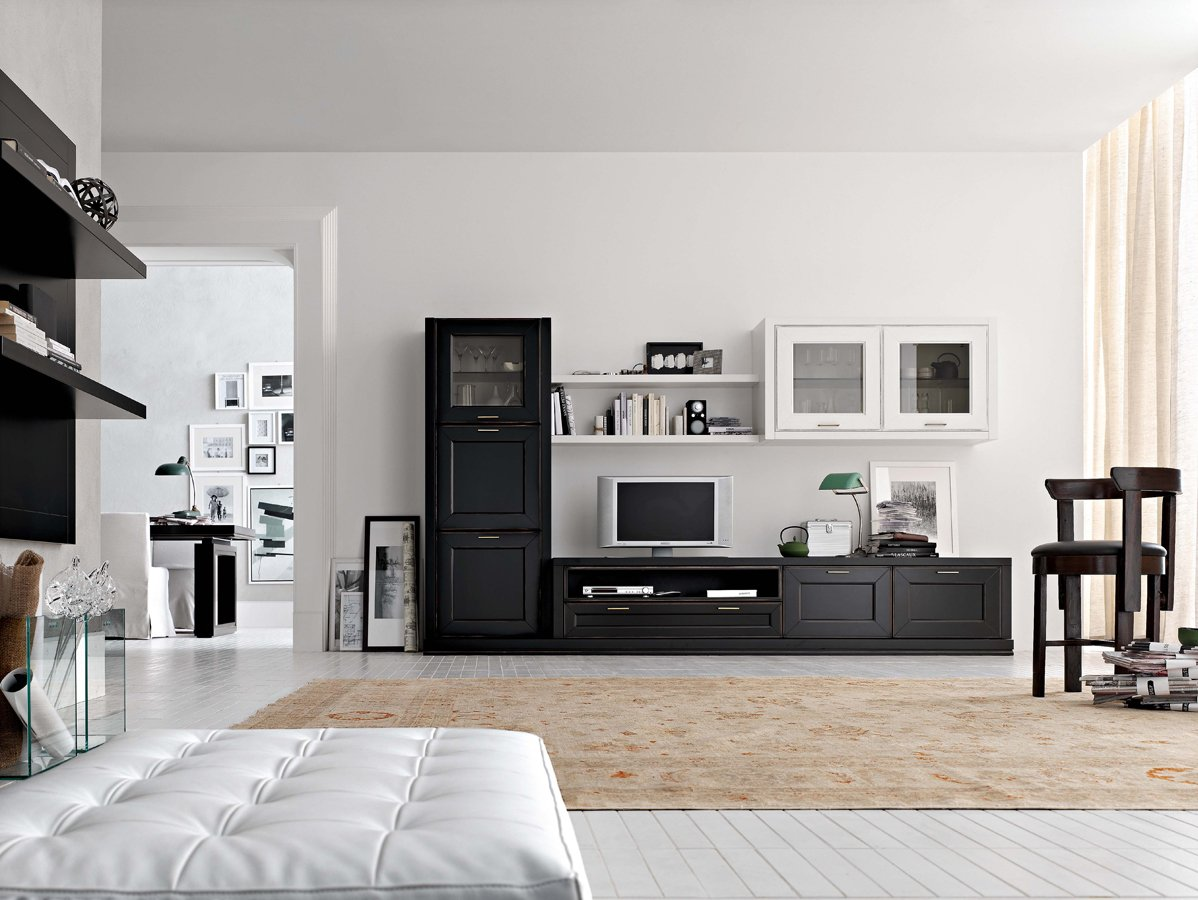 Черная корпусная мебель для обустройства гостиной комнаты