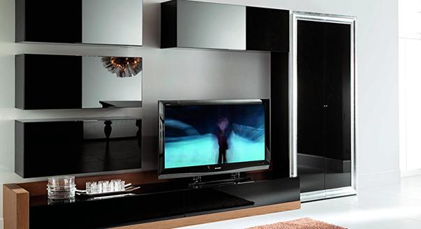Черная корпусная мебель для оформления гостиной