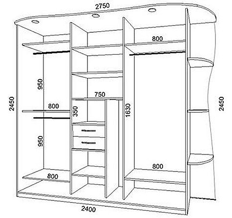 Чертежи и схемы гардеробной комнаты