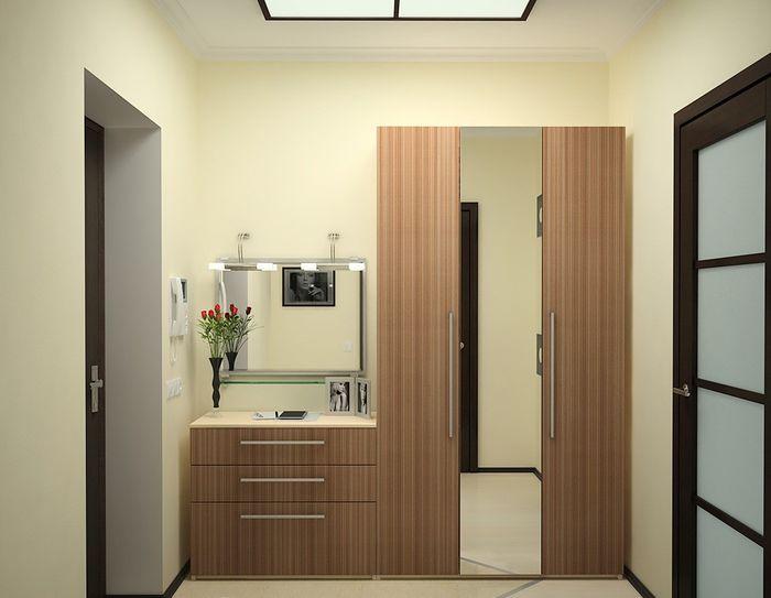 Деревянная мебель для небольшого коридора