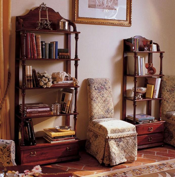 Деревянные этажерки для гостиной