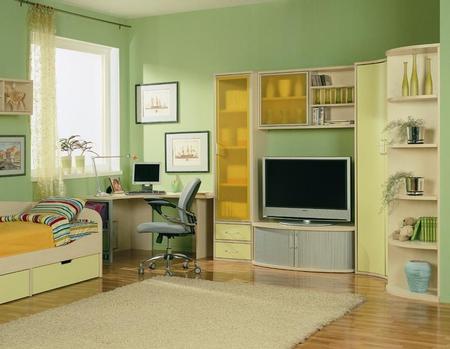 Детская белая мебель с фисташковым