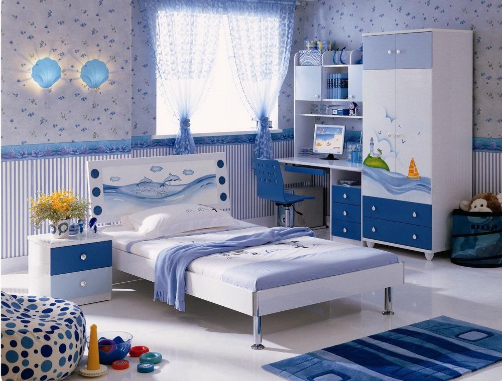 Детская белая мебель с синим