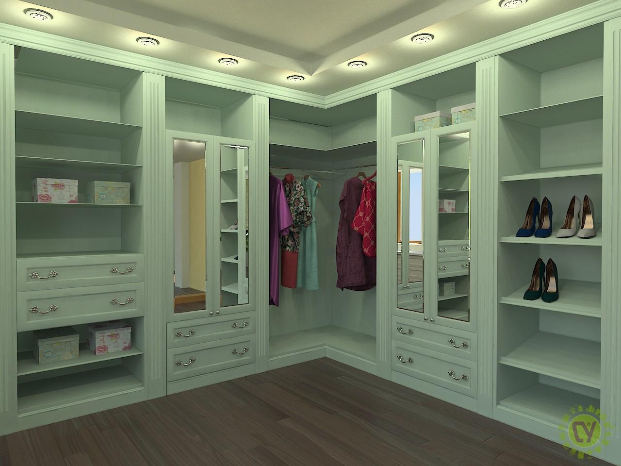 Дизайн угловой гардеробной комнаты