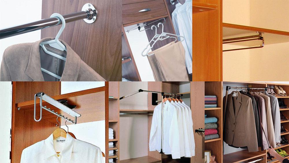 Фиксация штанги в гардеробе в кладовке