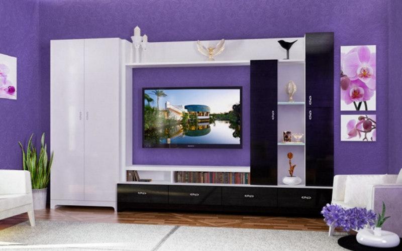 Фиолетовая глянцевая мебель для гостиной