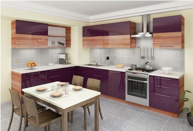 Фиолетовая мебель для оформления кухни