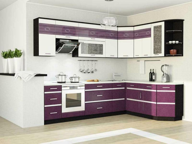 Фиолетовая наборная мебель для кухни