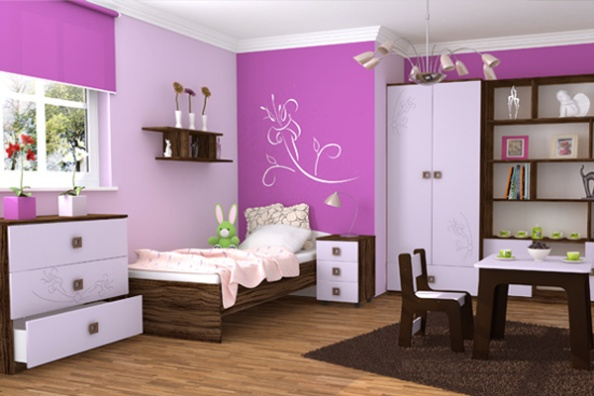 Фиолетовая подростковая мебель