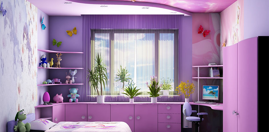 Фиолетовая спальня для девочки