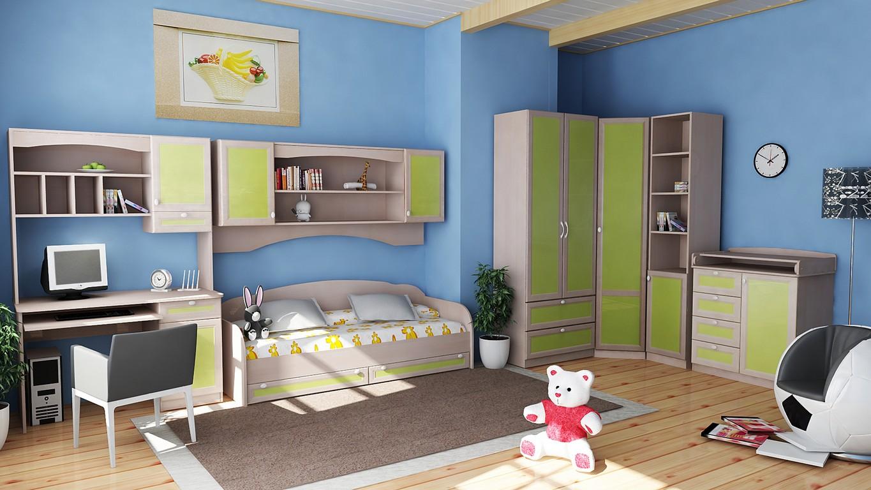 Функциональная модульная мебель в детской комнате мальчика