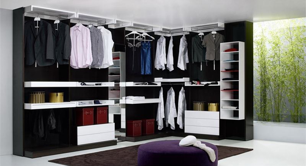 Г-образная угловая гардеробная комната