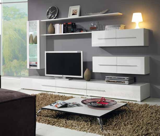 Глянцевая корпусная мебель для гостиной