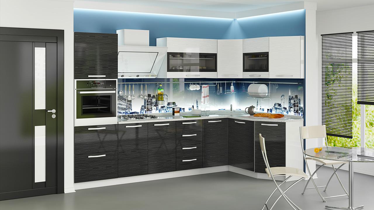 Глянцевая модульная мебель для кухни