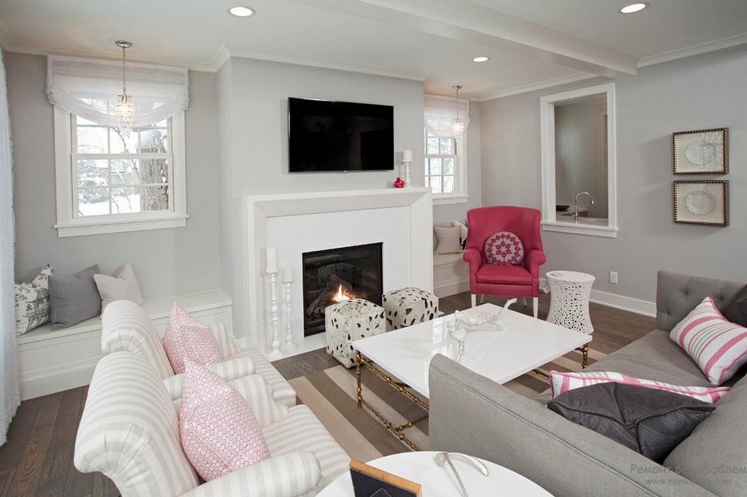 Гостиная с мебелью в белом светлом оттенке
