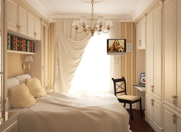 Классическая встроенная мебель в спальню