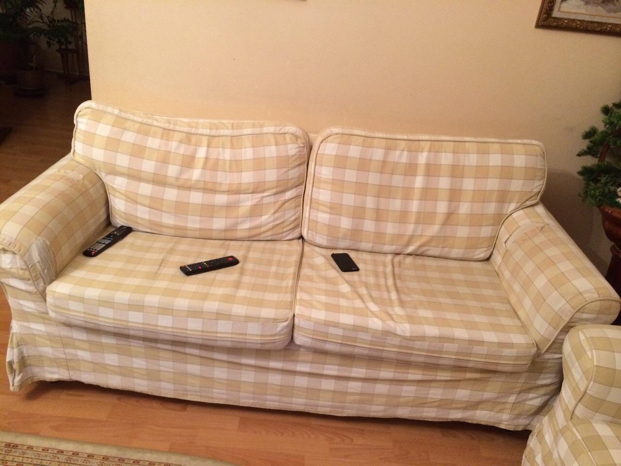 Клетчатые еврочехлы на мягкую мебель