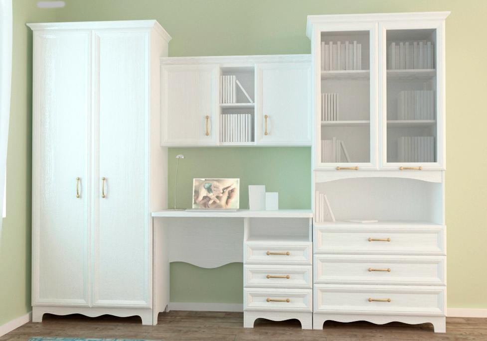 Компактная белая мебель для детской комнаты